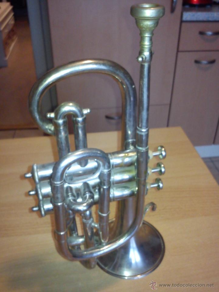 Instrumentos musicales: ANTIGUA TROMPETA DE 3 PISTONES,8.CIE..BALE .MAD SUIZE.. - Foto 2 - 40945539