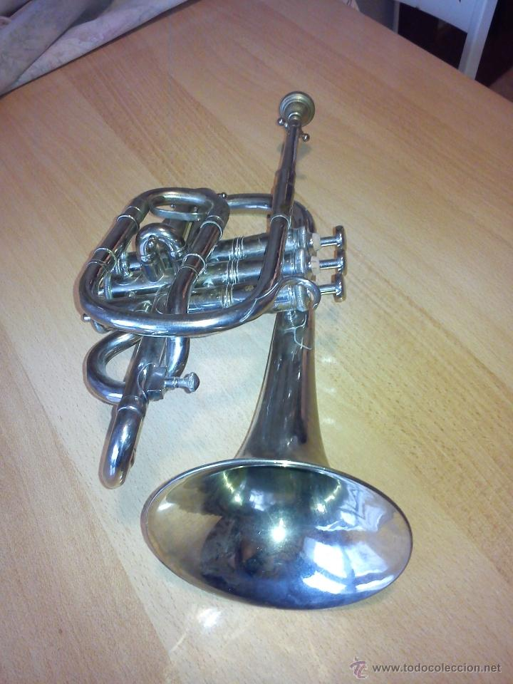 Instrumentos musicales: ANTIGUA TROMPETA DE 3 PISTONES,8.CIE..BALE .MAD SUIZE.. - Foto 4 - 40945539