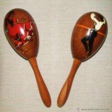 Instrumentos musicales: JUEGO DE MARACAS DE MADERA CON FIGURAS DE BAILAOR Y SEVILLANA PINTADOS. Lote 44725700