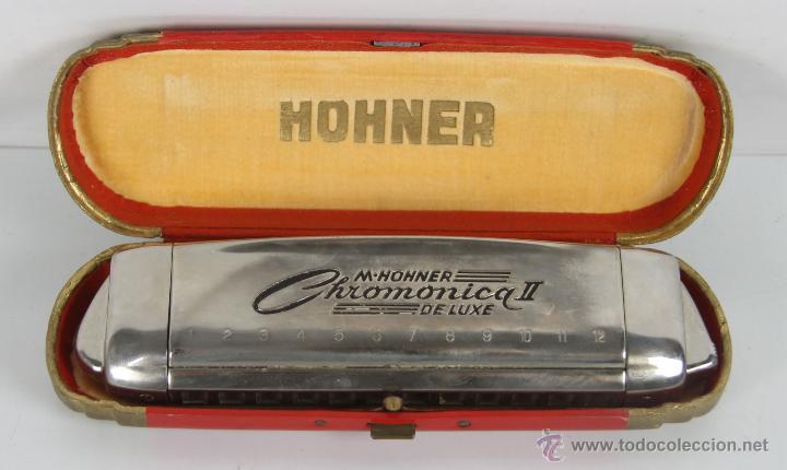 HARMONICA HOHNER. CHROMONICA II DELUXE. ESTUCHE DE MADERA ORIGINAL. MED S. XX. (Música - Instrumentos Musicales - Viento Metal)