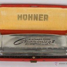 Instrumentos musicales: HARMONICA HOHNER. CHROMONICA II DELUXE. ESTUCHE DE MADERA ORIGINAL. MED S. XX. . Lote 45621090