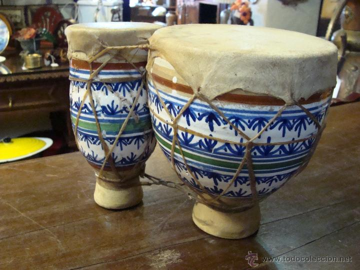 BONGOS O TAMBORES DOBLES AFRICANOS EN CERÁMICA MUY DECORATIVOS (Música - Instrumentos Musicales - Percusión)