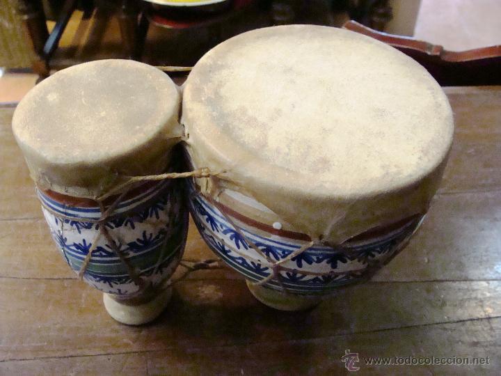 Instrumentos musicales: BONGOS O TAMBORES DOBLES AFRICANOS EN CERÁMICA MUY DECORATIVOS - Foto 13 - 47644037