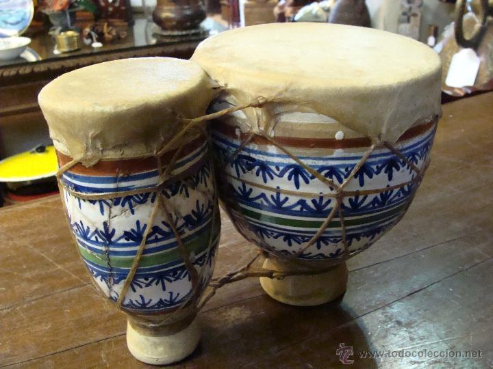 Instrumentos musicales: BONGOS O TAMBORES DOBLES AFRICANOS EN CERÁMICA MUY DECORATIVOS - Foto 14 - 47644037