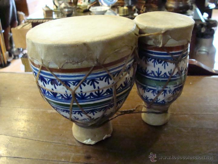 Instrumentos musicales: BONGOS O TAMBORES DOBLES AFRICANOS EN CERÁMICA MUY DECORATIVOS - Foto 18 - 47644037