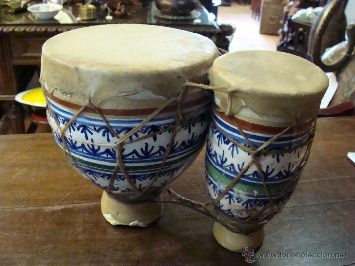 Instrumentos musicales: BONGOS O TAMBORES DOBLES AFRICANOS EN CERÁMICA MUY DECORATIVOS - Foto 19 - 47644037