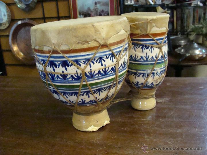 Instrumentos musicales: BONGOS O TAMBORES DOBLES AFRICANOS EN CERÁMICA MUY DECORATIVOS - Foto 20 - 47644037