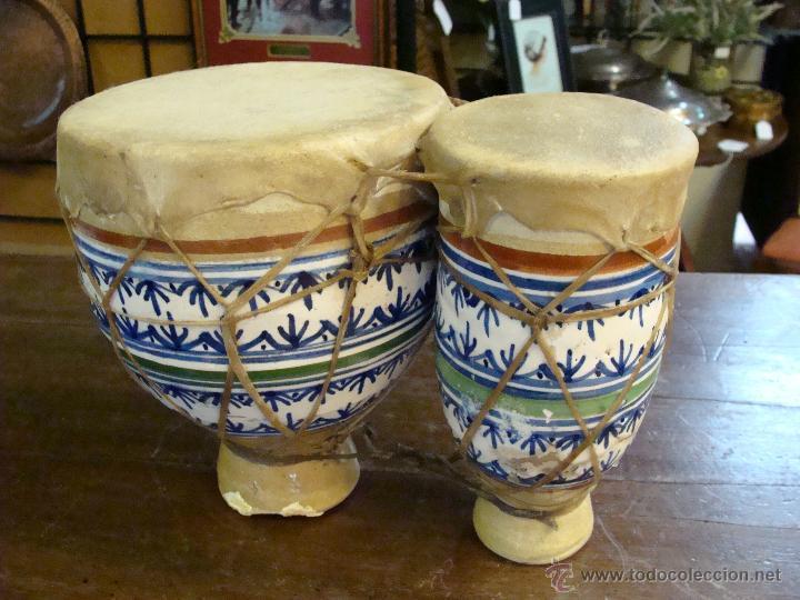 Instrumentos musicales: BONGOS O TAMBORES DOBLES AFRICANOS EN CERÁMICA MUY DECORATIVOS - Foto 23 - 47644037