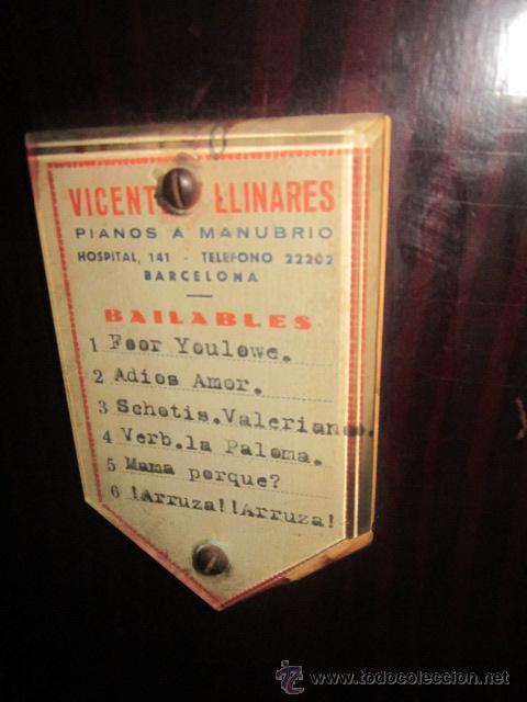 Instrumentos musicales: Antiguo organillo Vicente Llinares - Barcelona, con dos rodillos. Funcionando.Clavijero nuevo. - Foto 8 - 48143521