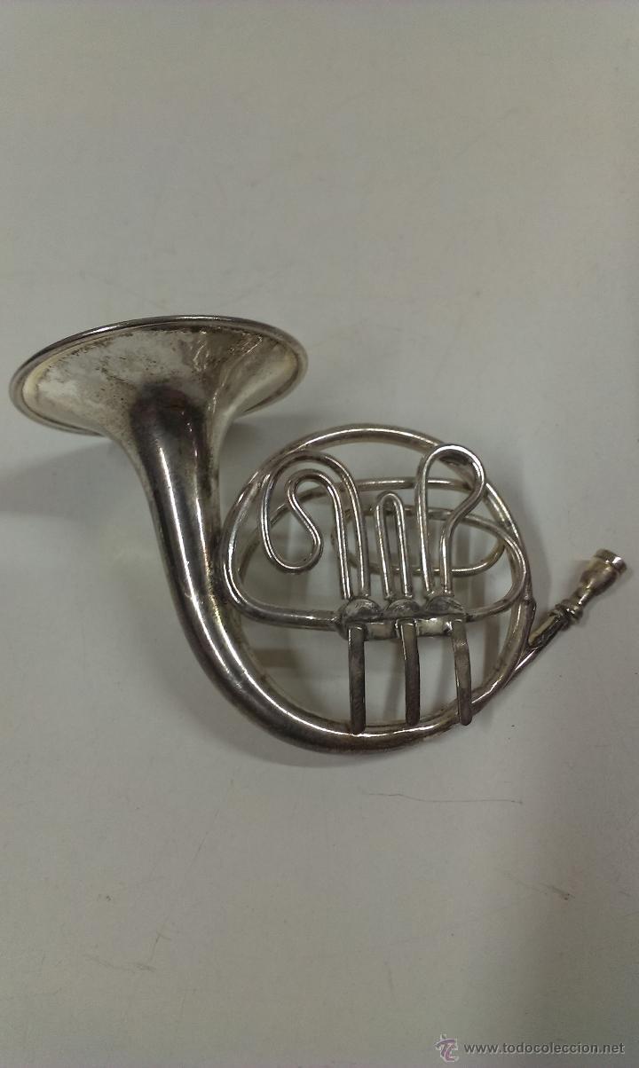 Instrumentos musicales: TROMPA EN MINIATURA . PIEZA DE COLECCION CON SU ESTUCHE ORIGINAL - Foto 6 - 49050460