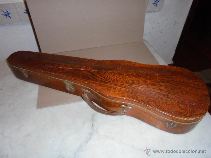 (M) ANTIGUA CAJA DE MADERA PARA VIOLIN PINTADA CON IMITACION AGUAS DE MADERA .80X24,5 CM. (Música - Instrumentos Musicales - Cuerda Antiguos)