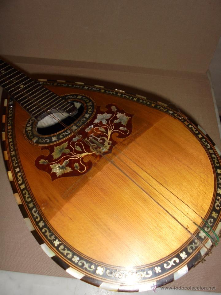 Instrumentos musicales: ANTIGUA MANDOLINA - DIFERENTES MADERAS , MARQUETERIAS , NACAR ( MADRE PERLA ) HUESO ETIQUETA INTERIO - Foto 5 - 51029313