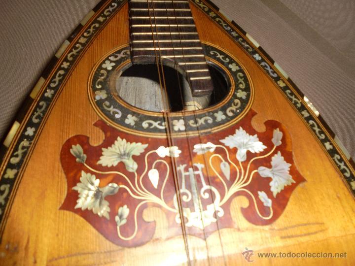 Instrumentos musicales: ANTIGUA MANDOLINA - DIFERENTES MADERAS , MARQUETERIAS , NACAR ( MADRE PERLA ) HUESO ETIQUETA INTERIO - Foto 6 - 51029313