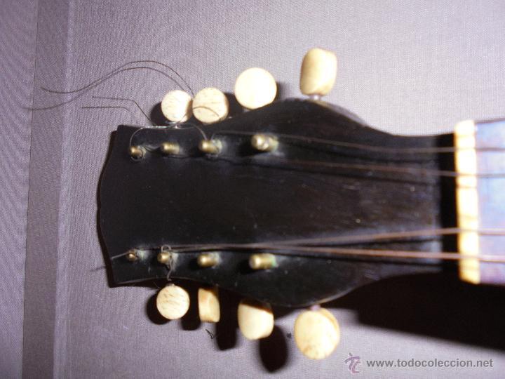 Instrumentos musicales: ANTIGUA MANDOLINA - DIFERENTES MADERAS , MARQUETERIAS , NACAR ( MADRE PERLA ) HUESO ETIQUETA INTERIO - Foto 8 - 51029313