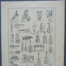 Instrumentos musicales: AÑO 1900 ESPASA - BELLA LAMINA INSTRUMENTOS DE CUERDA MUSICA. Lote 52415707