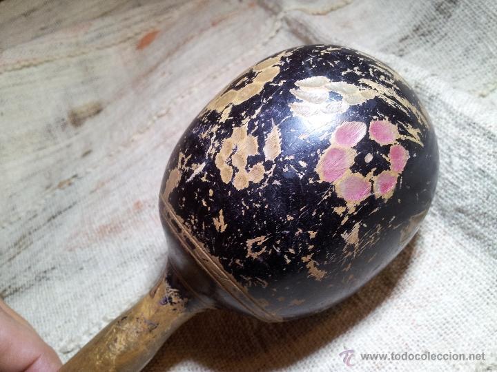 Instrumentos musicales: antigua maraca siglo xix enteriza madera de una pieza. - Foto 7 - 53272822
