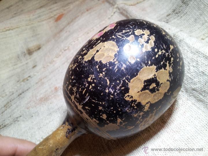 Instrumentos musicales: antigua maraca siglo xix enteriza madera de una pieza. - Foto 9 - 53272822