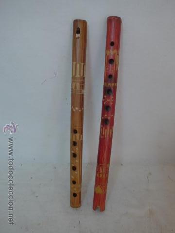 LOTE 2 FLAUTA ETNICA DE MADERA, ORIGINALES (Música - Instrumentos Musicales - Viento Madera)