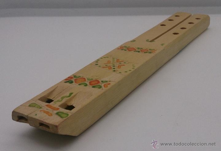 Instrumentos musicales: Flauta antigua doble en madera de estilo arte etnográfico pastoril , ( BULGARIA ). - Foto 4 - 87548807