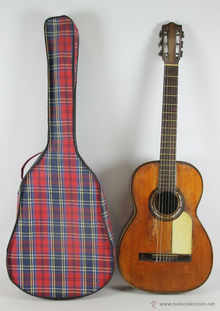 GUITARRA ESPAÑOLA. PERTENECIENTE AL MAESTRO ANTONIO FRANCISCO SERRA. SIGLO XIX-XX. (Música - Instrumentos Musicales - Guitarras Antiguas)