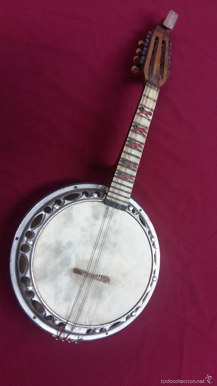 ANTIGUO BANJO, 8 CUERDAS. POSIBLE SALTARELLO, AÑOS 30. (Música - Instrumentos Musicales - Cuerda Antiguos)