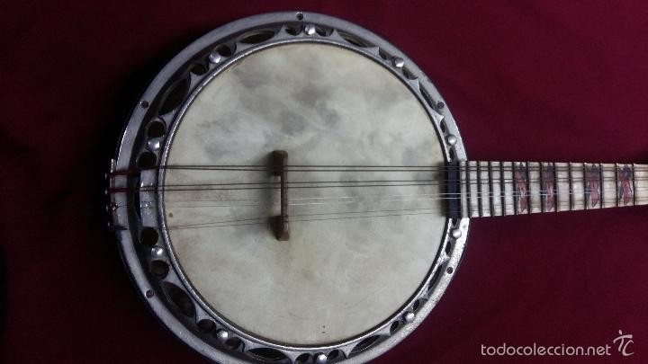 Instrumentos musicales: ANTIGUO BANJO, 8 CUERDAS. POSIBLE SALTARELLO, AÑOS 30. - Foto 10 - 55921328