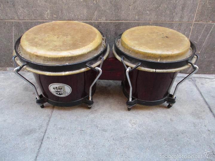 2 TAMBORES UNIDOS DE MADERA Y PIEL DE MARCA ONE RHYTHM (Música - Instrumentos Musicales - Percusión)