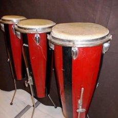 Instrumentos musicales: FANTASTICO TRIO DE ANTIGUAS CONGAS.. Lote 60376939