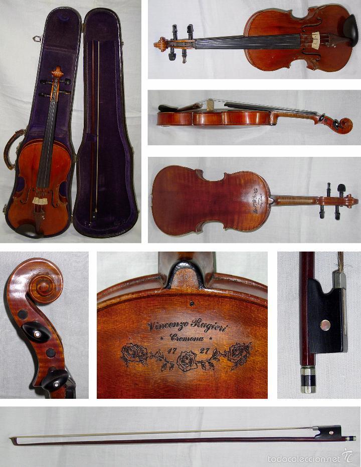 VIOLIN. MARCA AL FUEGO VINCENZO RUGIERI. CREMONA. 1727. ESTUCHE Y ARCO. (Música - Instrumentos Musicales - Cuerda Antiguos)