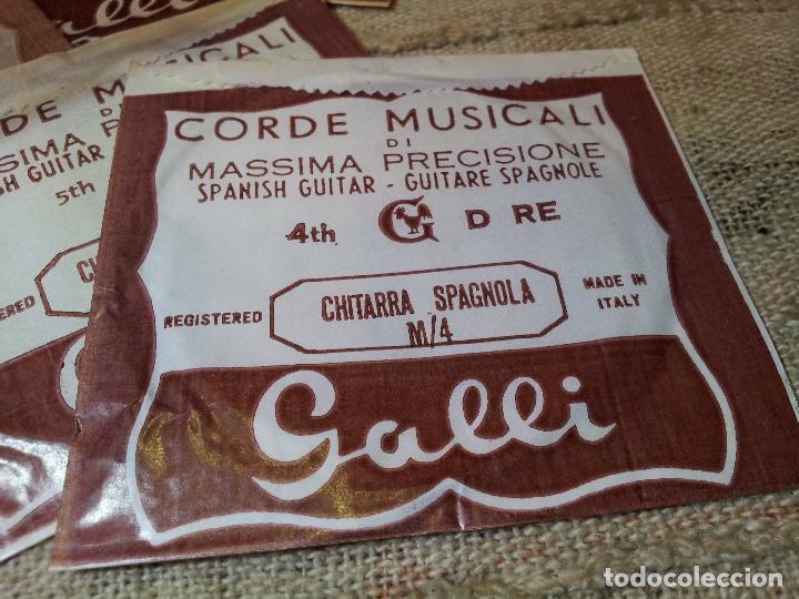 Instrumentos musicales: JUEGO COMPLETO 6 CUERDAS DE GUITARRA ESPAÑOLA ITALIANAS AÑOS 60 ORIGINALES MARCA GALLI - Foto 3 - 64497487
