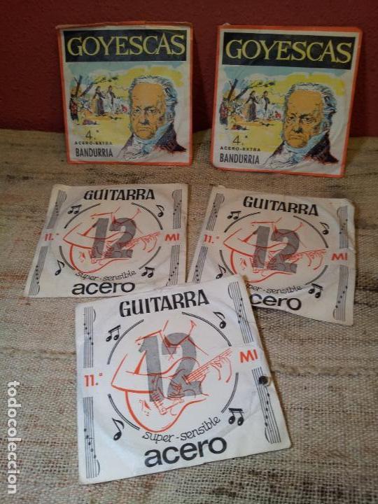LOTE CUERDAS VARIADAS GUITARRA,,,SUELTAS 5 UNIDADES (Música - Instrumentos Musicales - Guitarras Antiguas)