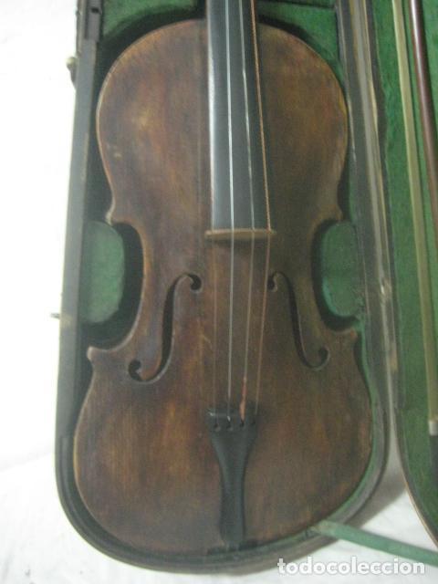 Instrumentos musicales: TREMENDO VIOLIN DEL SIGLO XVIII EN SU MALETIN ORIGINAL Y CON SU ARCO DE ORIGEN BULGARO, EXCELENTE - Foto 6 - 65749850