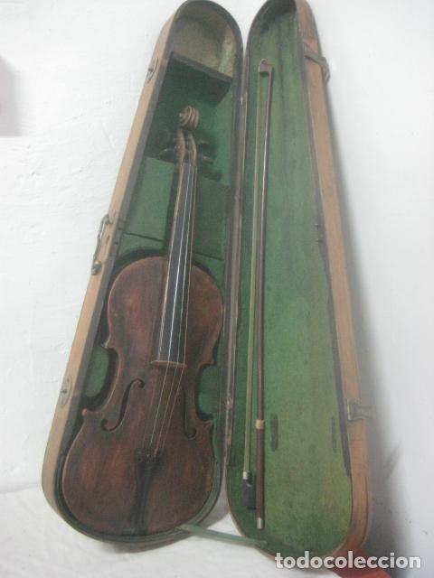Instrumentos musicales: TREMENDO VIOLIN DEL SIGLO XVIII EN SU MALETIN ORIGINAL Y CON SU ARCO DE ORIGEN BULGARO, EXCELENTE - Foto 11 - 65749850