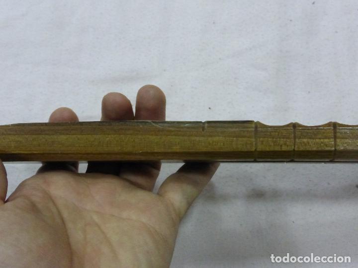Instrumentos musicales: PRECIOSA Y ANTIGUA FLAUTA CON PRIMOROSA TALLA POPULAR EN MADERA NOBLE-DOBLE TUBO-ORIGINAL BULGARIA - Foto 7 - 76702423