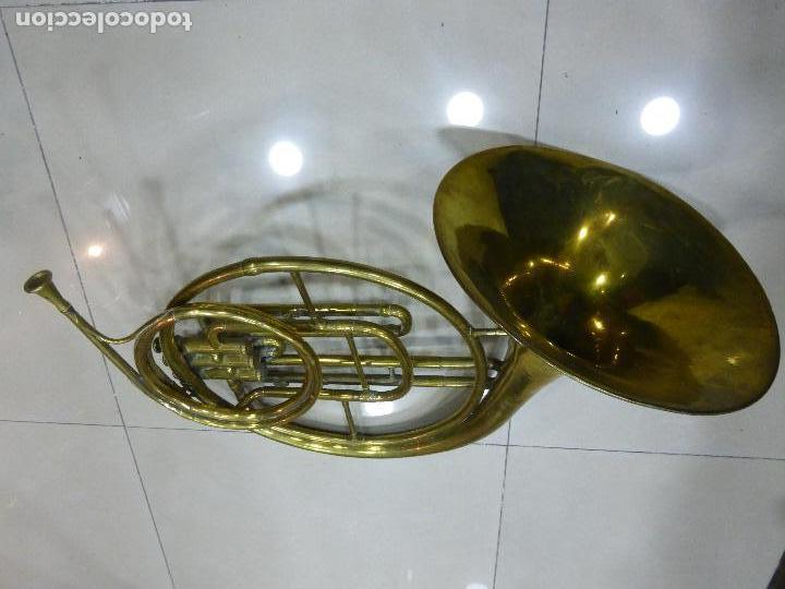 Instrumentos musicales: ANTIGUA TROMPA-INSTRUMENTO MUSICAL VIENTO-COUESNON & CIE-PARÍS-BANDA PROVINCIAL ZAMORA,ORIGINAL 1900 - Foto 2 - 77373717