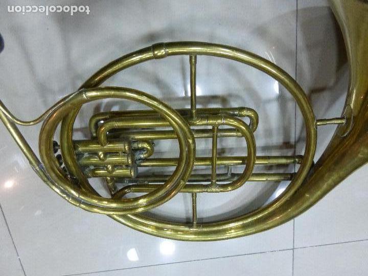 Instrumentos musicales: ANTIGUA TROMPA-INSTRUMENTO MUSICAL VIENTO-COUESNON & CIE-PARÍS-BANDA PROVINCIAL ZAMORA,ORIGINAL 1900 - Foto 4 - 77373717