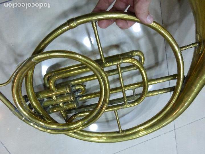 Instrumentos musicales: ANTIGUA TROMPA-INSTRUMENTO MUSICAL VIENTO-COUESNON & CIE-PARÍS-BANDA PROVINCIAL ZAMORA,ORIGINAL 1900 - Foto 8 - 77373717