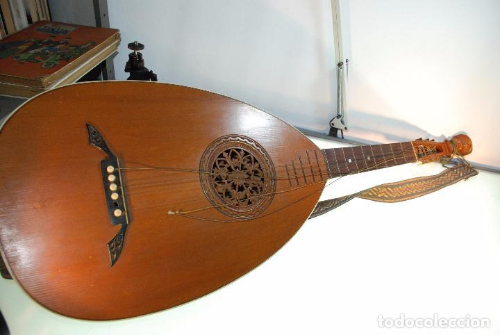 INTERESANTE LAUD ALEMÁN DE MADERA TALLADA - SIGLO XIX - CABEZA TALLADA EN CLAVIJERO - UNA JOYA - (Música - Instrumentos Musicales - Cuerda Antiguos)