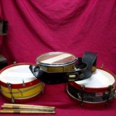 Instrumentos musicales: LOTE DE TRES TAMBORES PARA REPARAR O PIEZAS. Lote 98701027