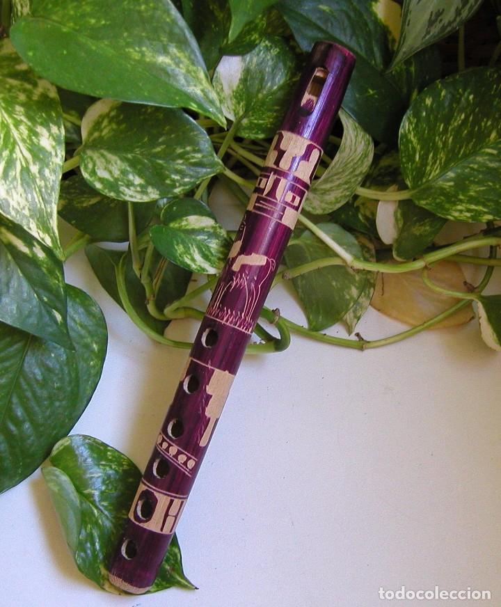 FLAUTA DE MADERA ARTESANAL PERUANA PERÚ REALIZADA TOTALMENTE A MANO (Música - Instrumentos Musicales - Viento Madera)