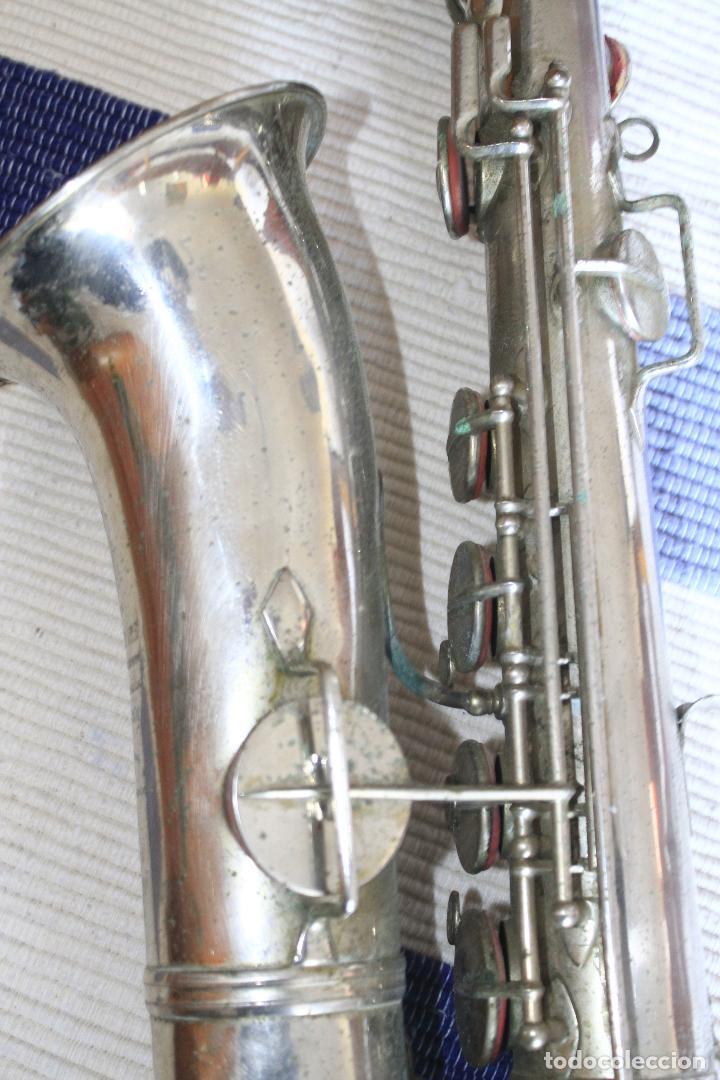 Instrumentos musicales: SAXOFON TENOR PLATEADO ROMEO ORSI MILANO SAXO HECHO EN ITALIA. - Foto 5 - 105265023
