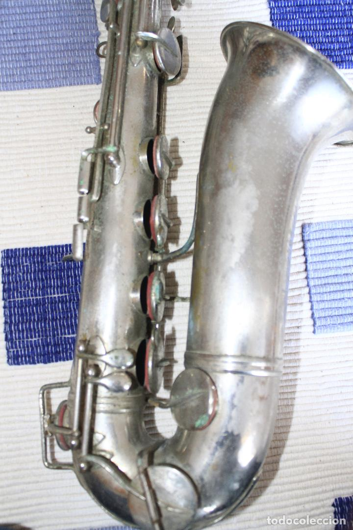 Instrumentos musicales: SAXOFON TENOR PLATEADO ROMEO ORSI MILANO SAXO HECHO EN ITALIA. - Foto 9 - 105265023