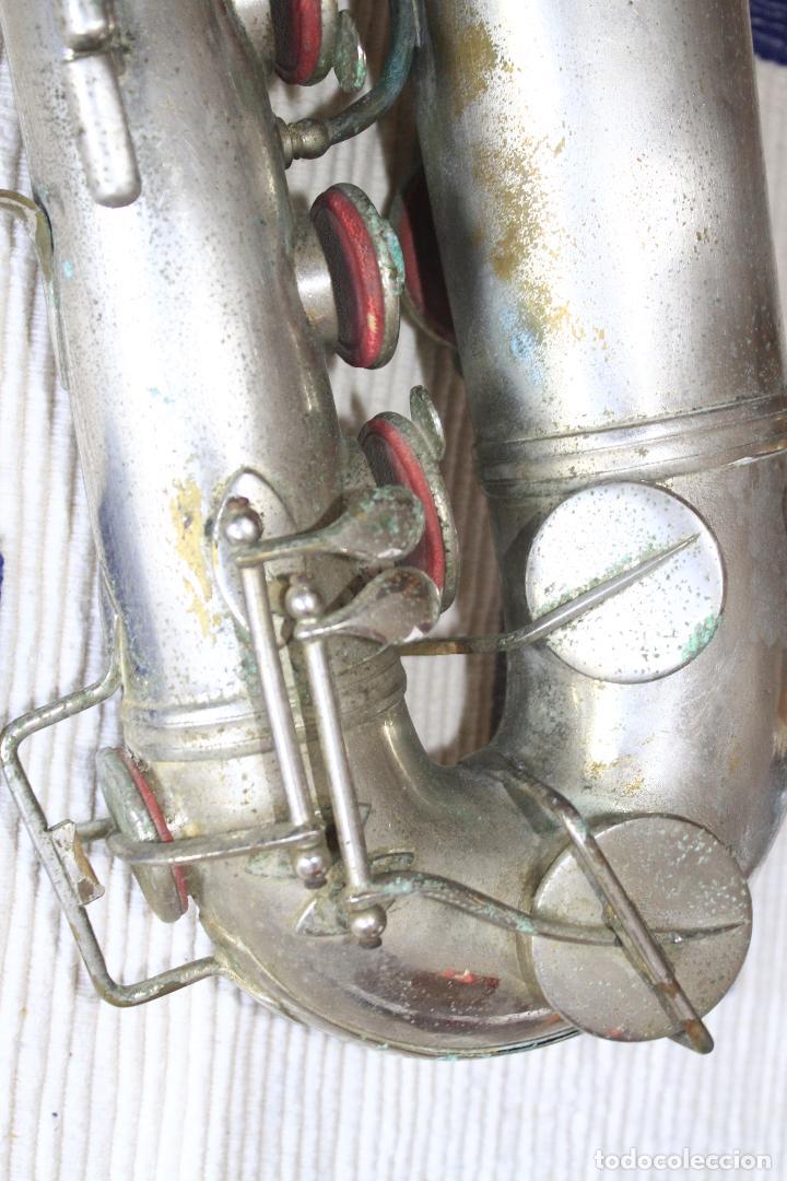 Instrumentos musicales: SAXOFON TENOR PLATEADO ROMEO ORSI MILANO SAXO HECHO EN ITALIA. - Foto 10 - 105265023