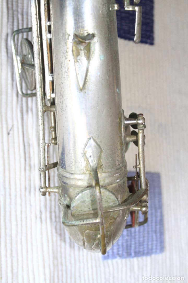 Instrumentos musicales: SAXOFON TENOR PLATEADO ROMEO ORSI MILANO SAXO HECHO EN ITALIA. - Foto 15 - 105265023