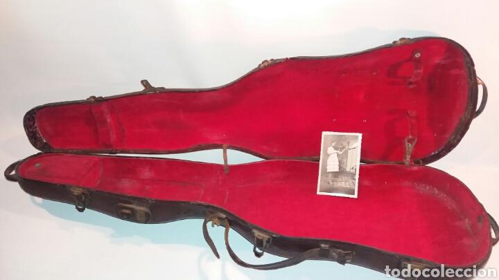 ANTIGUA FUNDA VIOLÍN MADERA CUERO TELA ASA METAL INSTRUMENTO CUERDA (Música - Instrumentos Musicales - Cuerda Antiguos)