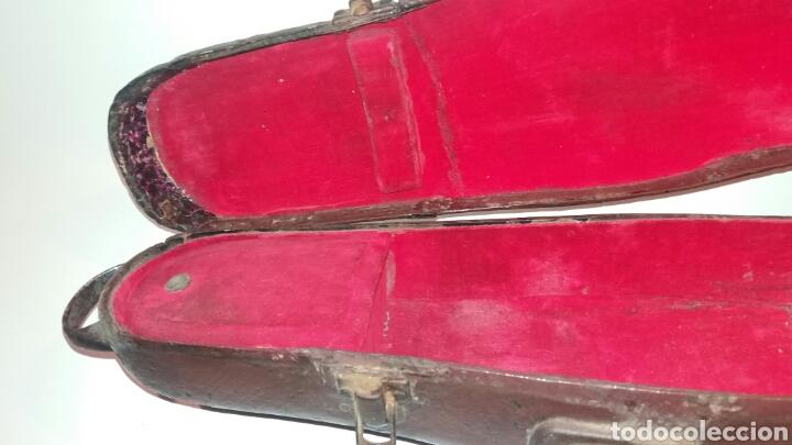 Instrumentos musicales: Antigua funda violín madera cuero tela asa metal instrumento cuerda - Foto 5 - 111419874