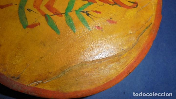 Instrumentos musicales: ANTIGUA PANDERETA S.XIX PINTADA FIGURA DE UN PAJARO , Y PAPEL ESTAMPADO CON TREPA , VER FOTOGRAFIA - Foto 3 - 115593239