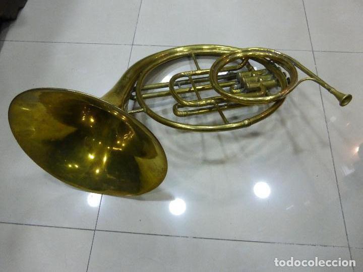 ANTIGUA TROMPA-INSTRUMENTO MUSICAL VIENTO-COUESNON & CIE-PARÍS-BANDA PROVINCIAL ZAMORA,ORIGINAL 1900 (Música - Instrumentos Musicales - Viento Metal)