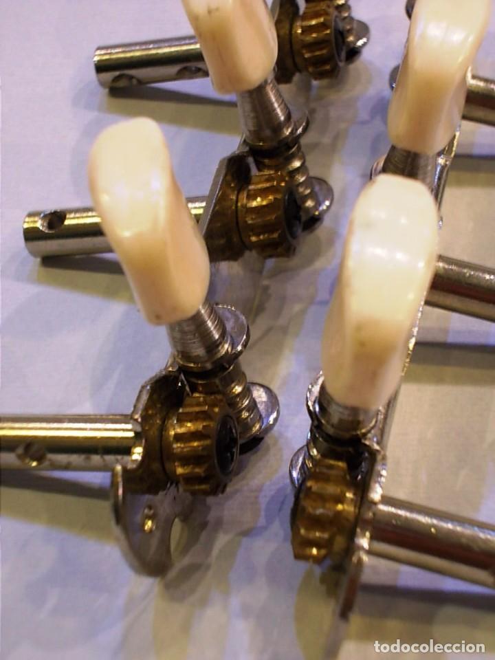 Instrumentos musicales: Antiguos clavijeros de guitarra en metal - Foto 2 - 125330043
