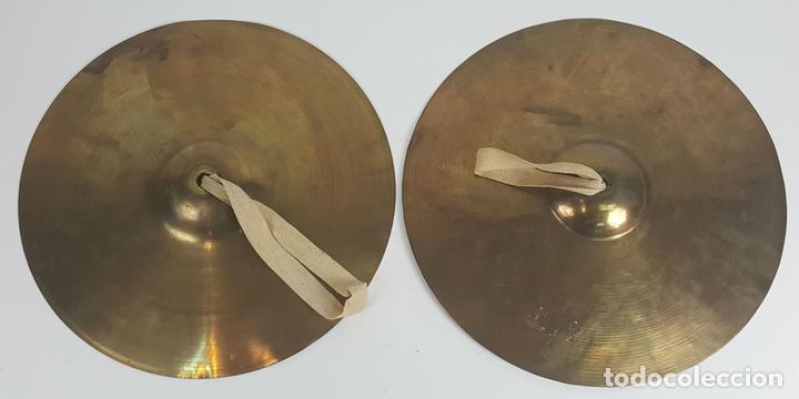 PAREJA DE PLATILLOS DE BRONCE DE BANDA. SCHUTZMARKE. ALEMANIA. SIGLO XX. (Música - Instrumentos Musicales - Percusión)